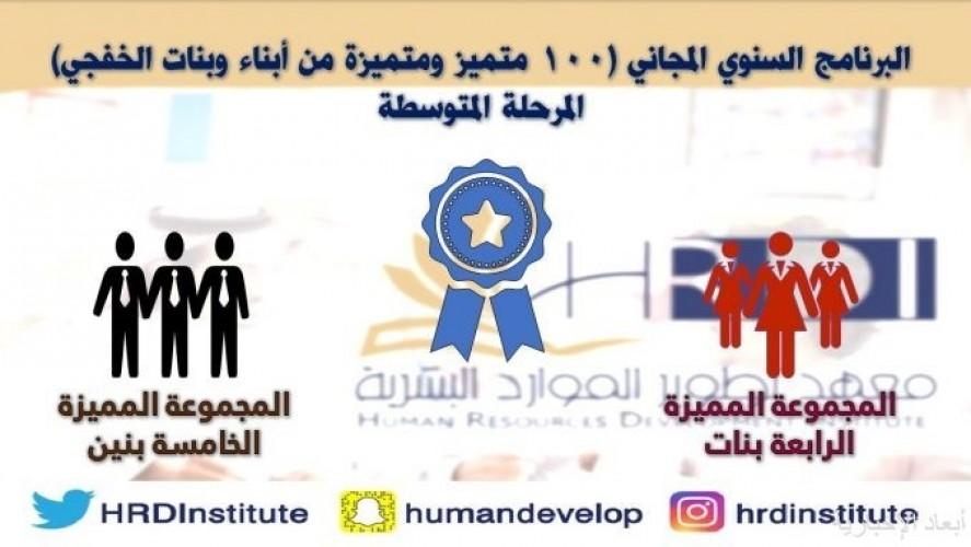 معهد تطور الموارد البشرية بالخفجي يختتم برنامج ١٠٠ متميز ومتميزه التدريبي