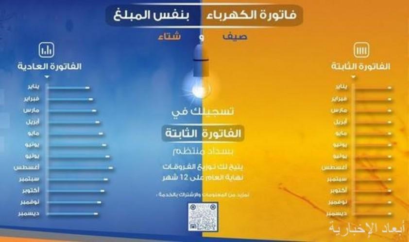 """الشركة السعودية للكهرباء: """"الفاتورة الثابتة"""" تسهل الدفع على المشترك وتنظم استهلاكه من الكهرباء"""