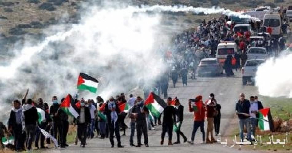 إصابة 3 فلسطينيين بالرصاص جراء قمع قوات الاحتلال مسيرة مناهضة للاستيطان بنابلس