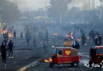 66 حالة اختناق وإصابة خلال المظاهرات فى وسط بغداد
