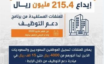 «هدف» يودع 215.4 مليون ريال للمنشآت المستفيدة من «دعم التوظيف»