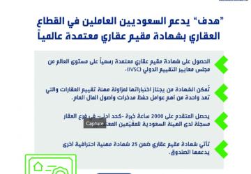 «هدف» يدعم السعوديين العاملين بالقطاع العقاري بشهادة مُقيّم