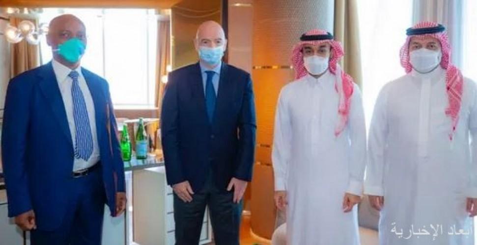 سمو رئيس الاتحاد العربي يلتقي برؤساء اتحادات FIFA و AFC و CAF