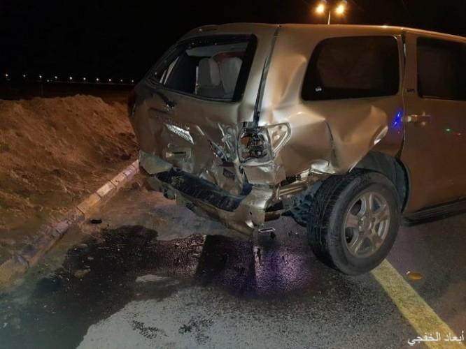 حادث مروري لمركبتين على طريق مصلى العيد باصابات متوسطة
