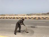 خسف أرضي في طريق الملك فهد بالخفجي يتسبب في حادث مروري