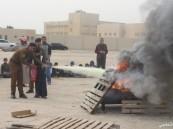 المستقبل الابتدائية تدرب طلابها على إطفاء الحريق بالتعاون مع مدني الخفجي