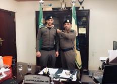 العقيد العتيبي مدير الدفاع المدني يقلد النقيب العازمي رتبته الجديدة