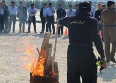 بالتعاون مع مدني الخفجي معهد البترول يدرب الطلاب على التعامل مع الحرائق