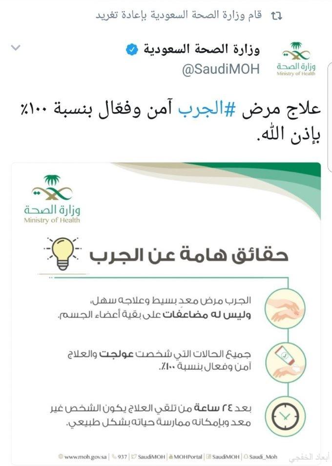 مجموعة تغريدات: لــ«وزارة الصحة» توضح حقيقة الجرب والوقاية والعلاج منه