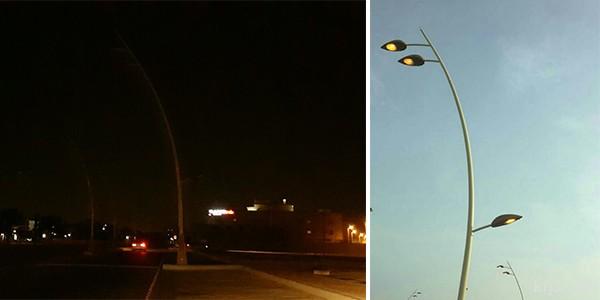 بالصور: أعمدة الإنارة في «ستين» الخفجي.. تعمل نهاراً وتنطفئ ليلاً